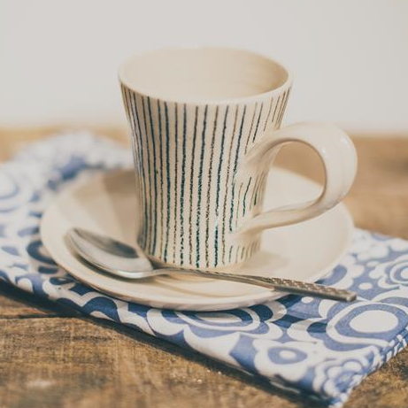 Fluted coffee cup & saucer - Stripe